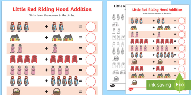 Little Red Riding Hood Addition Sheets-little red riding hood, addition, addition sheet, maths sheet, themed addtion sheet, numbers, numeracy