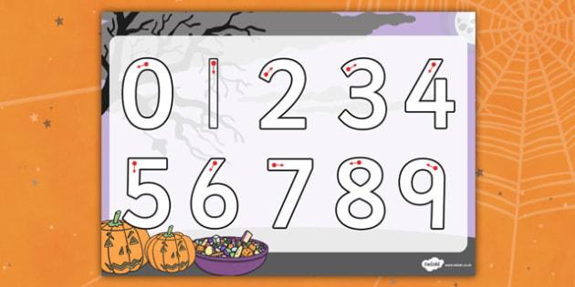 Halloween Number Formation Worksheet - halloween, number, sheet, overwriting