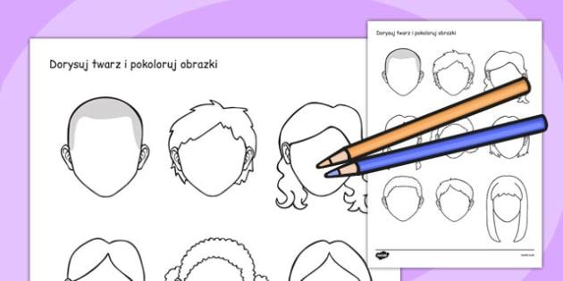Kolorowanki Twarze po polsku - przedszkole, materiały, edukacyjne , Polish