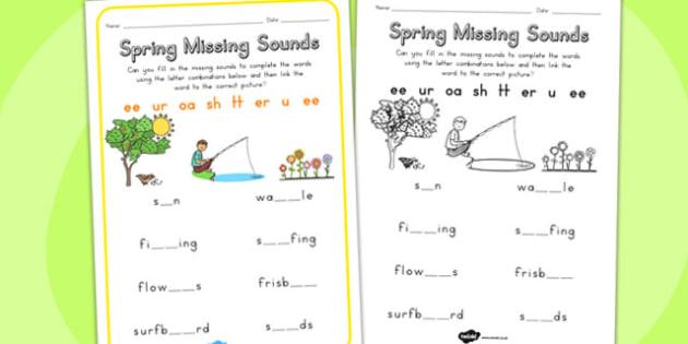 Spring Missing Sounds Worksheet - seasons, sounds, missing