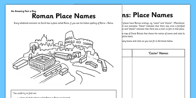 Roman Place Names Activity Sheet - Italy, Rome, geography,history, research, writing frame, writing, activity, worksheet