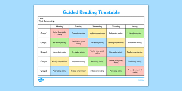 Guided Reading Timetable  Guided Reading Template Guided