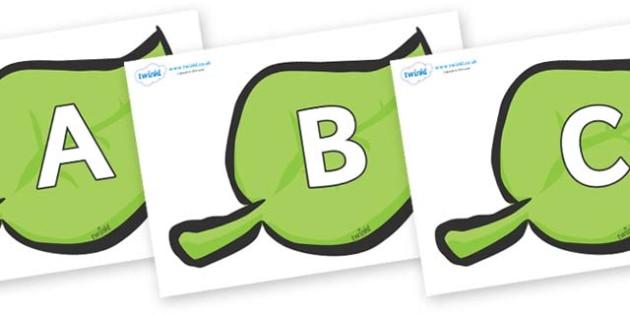 A-Z Alphabet on Spring Leaves - A-Z, A4, display, Alphabet frieze, Display letters, Letter posters, A-Z letters, Alphabet flashcards