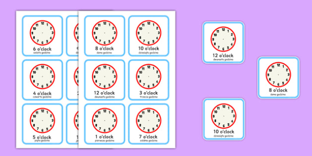 Write the Time O'clock Cards Polish Translation - polish, write, time, o'clock, cards, clocks