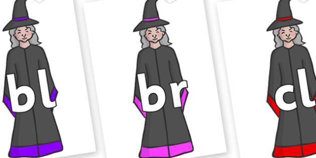 Initial Letter Blends on Witches - Initial Letters, initial letter, letter blend, letter blends, consonant, consonants, digraph, trigraph, literacy, alphabet, letters, foundation stage literacy