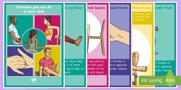 Exercises You Can Do At Your Desk A4 Display Poster - Teacher De-Stress Pack, exercising, easy, handy, wellness, de-stress, relax, desk, wellbeing.
