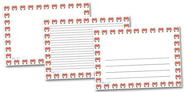 Crab Landscape Page Borders- Landscape Page Borders - Page border, border, writing template, writing aid, writing frame, a4 border, template, templates, landscape
