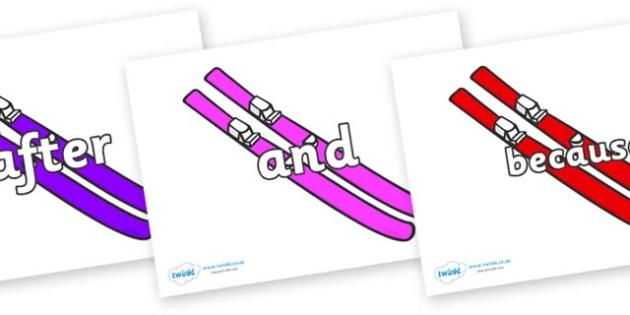 Connectives on Skis - Connectives, VCOP, connective resources, connectives display words, connective displays