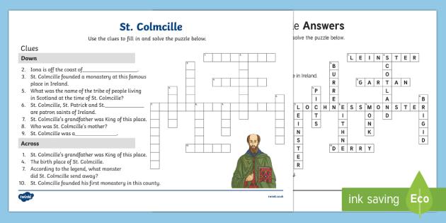 St. Colmcille Crossword Activity Sheet