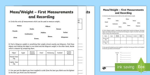 First Measurements in Weight Activity Sheet - Learning from Home Maths Workbooks, weighing, mass, find and weigh,