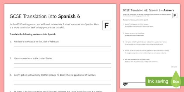 GCSE Translation into Spanish Foundation Tier 6 Activity Sheet