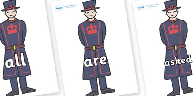 Tricky Words on Beefeaters - Tricky words, DfES Letters and Sounds, Letters and sounds, display, words