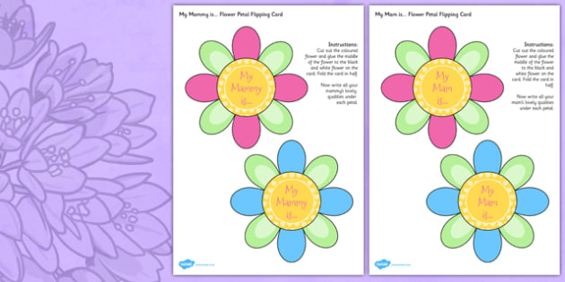 Mother's Day Flap Flower Card Irish - mams, mammy, celebration, Ireland
