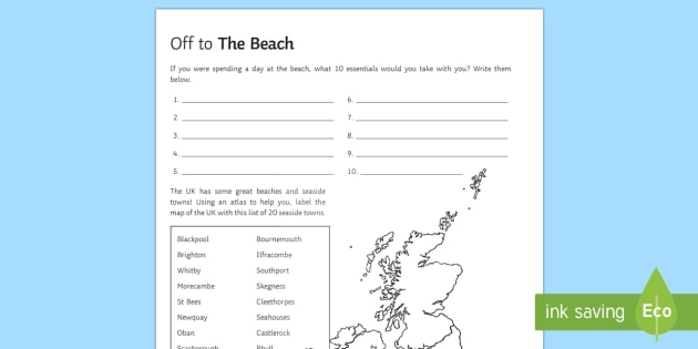 To the Beach! Activity Sheet - Geography Club, beach, coasts, resorts, UK, tourism, travel. worksheet