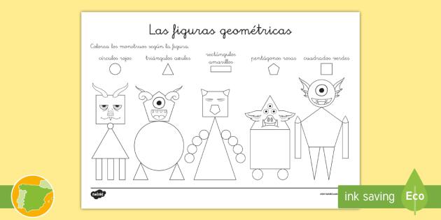 Ficha de actividad: Colorear con figuras - Monstruos - figuras, colores, figura 2d, formas, formas 2d, ficha,Spanish
