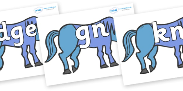 Silent Letters on Blue Horse to Support Teaching on Brown Bear, Brown Bear - Silent Letters, silent letter, letter blend, consonant, consonants, digraph, trigraph, A-Z letters, literacy, alphabet, letters, alternative sounds