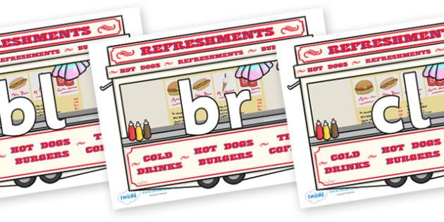 Initial Letter Blends on Fairground Food Vans - Initial Letters, initial letter, letter blend, letter blends, consonant, consonants, digraph, trigraph, literacy, alphabet, letters, foundation stage literacy
