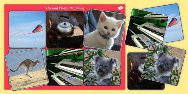 Initial k Sound Photo Matching Board and Cards - sounds, phonics