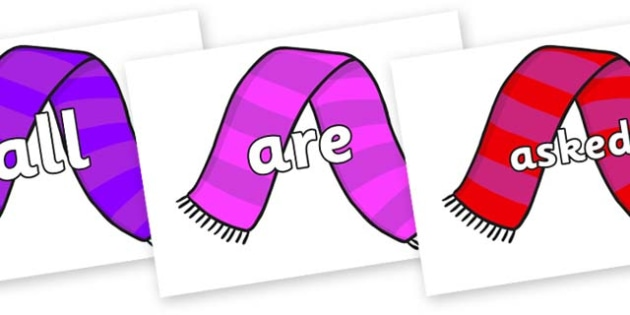 Tricky Words on Scarves - Tricky words, DfES Letters and Sounds, Letters and sounds, display, words