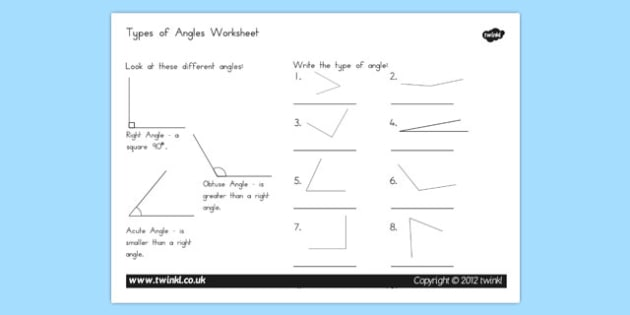 Acute and Obtuse Angles Worksheet - australia, acute, obtuse