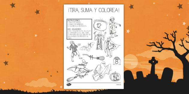 Ficha de Halloween de tirar el dado, sumar y colorear