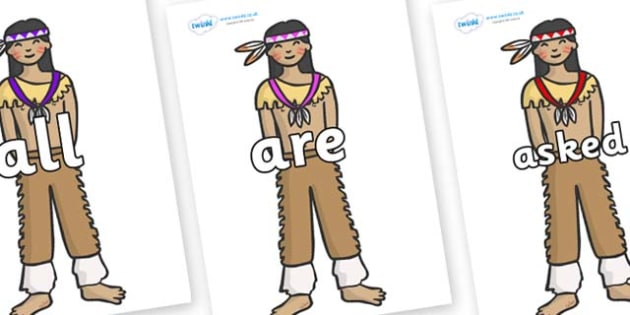 Tricky Words on Native Americans - Tricky words, DfES Letters and Sounds, Letters and sounds, display, words