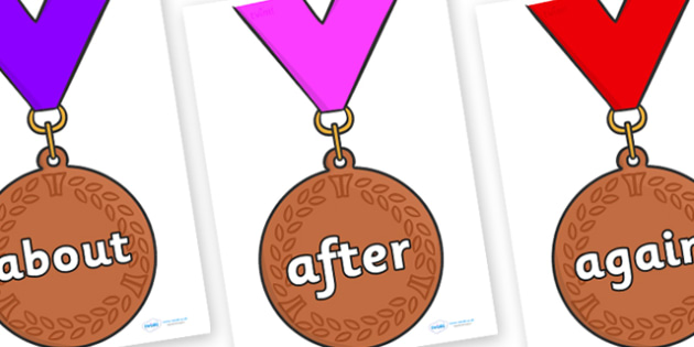 KS1 Keywords on Bronze Medals - KS1, CLL, Communication language and literacy, Display, Key words, high frequency words, foundation stage literacy, DfES Letters and Sounds, Letters and Sounds, spelling