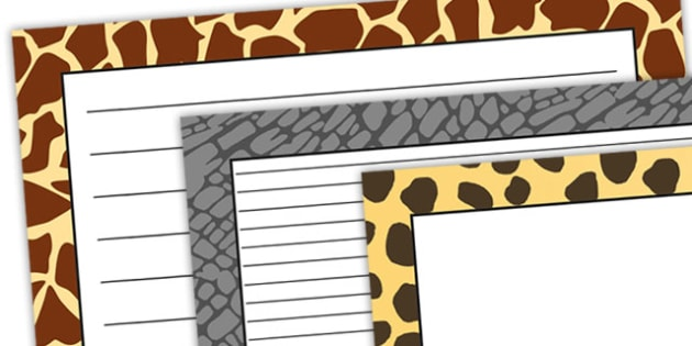 Safari Animal Pattern Themed Landscape page Borders - safari, on safari, safari page borders, safari animal pattern page borders, animal pattern page border