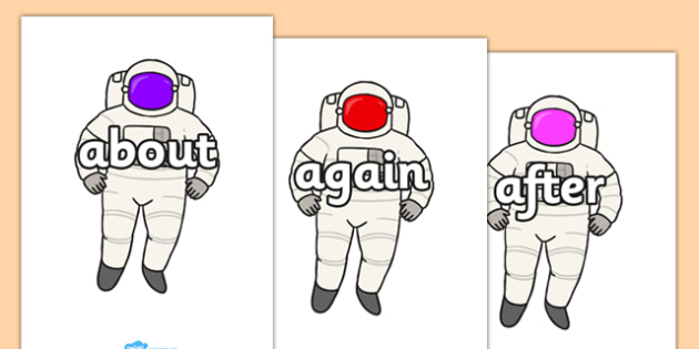 KS1 Keywords on Astronauts - KS1, CLL, Communication language and literacy, Display, Key words, high frequency words, foundation stage literacy, DfES Letters and Sounds, Letters and Sounds, spelling