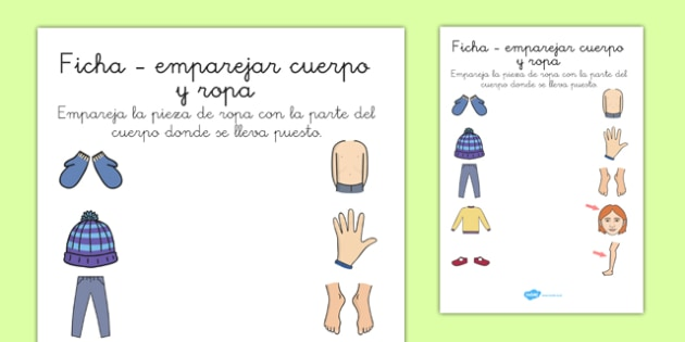 Ficha - emparejar cuerpo y ropa - spanish, clothes, body, matching, game