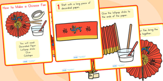 How To Make A Chinese Fan Craft Instruction Cards - chinese, craft