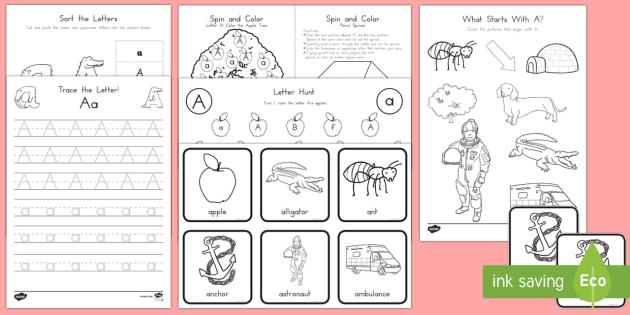 Letter A Activity Pack - Alphabet Packets, Letter A, EYFS, KS1, PreK, Kindergarten, Beginning Sounds, Letter Identification,