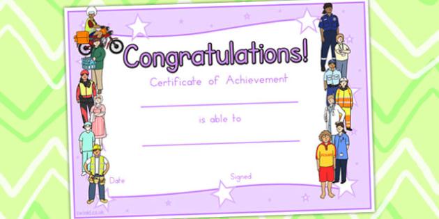 People Who Help Us Certificates - award, behaviour management