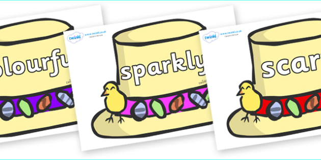 Wow Words on Summer Hats - Wow words, adjectives, VCOP, describing, Wow, display, poster, wow display, tasty, scary, ugly, beautiful, colourful sharp, bouncy
