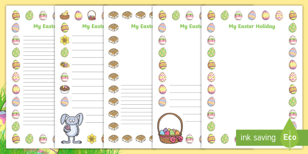 My Easter Holiday Writing Frames - writing frame, frame, writing, writing aid, writing template, template, literacy, reading and writing