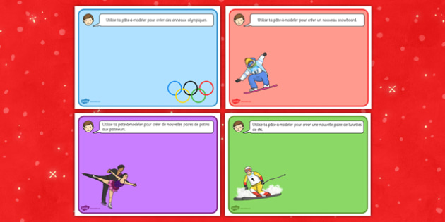 Winter Olympics Playdough Mats French - french, winter olympics, playdough mats