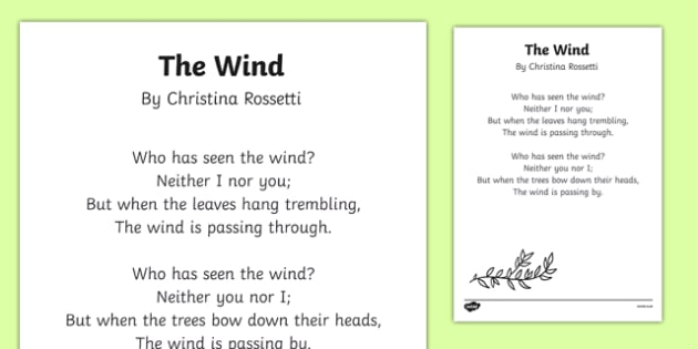 The Wind by Christina Rossetti Poem Print Out