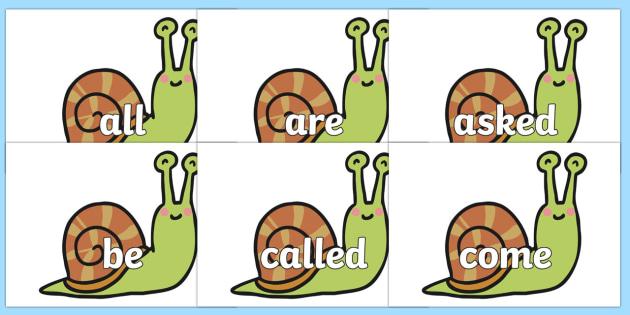 Tricky Words on Snails - Tricky words, DfES Letters and Sounds, Letters and sounds, display, words