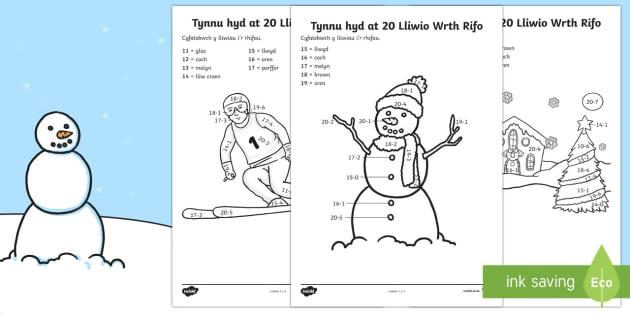 Lliwio Wrth Rifo Y Gaeaf Tynnu Hyd at 20 - lliwio wrth rhifo, Y Gaeaf (Winter), Gaeaf, Arddangosfeydd, Tymhorau, Cyfnod Sylfaen.mathemateg, tynnu hyd at 20, lliwi