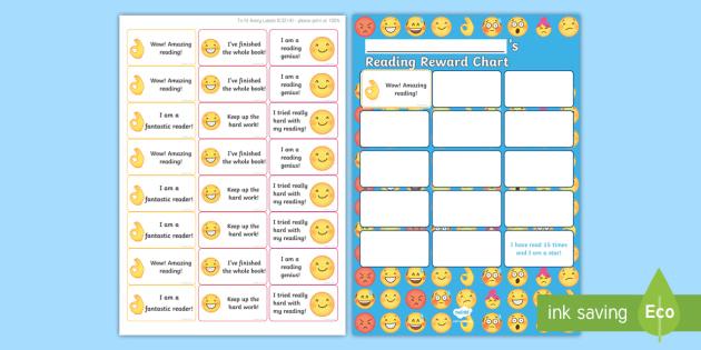 KS1 Emoji Themed Reading Sticker Reward Chart - Y1, Home