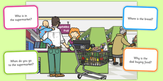 Supermarket Picture and Questions - Question words, Listening, Receptive language, Expressive language, Language activity