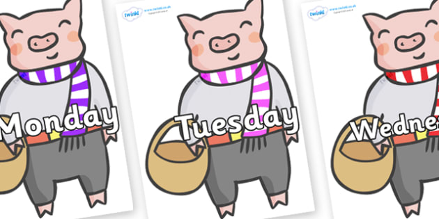 Days of the Week on Little Piggy - Days of the Week, Weeks poster, week, display, poster, frieze, Days, Day, Monday, Tuesday, Wednesday, Thursday, Friday, Saturday, Sunday