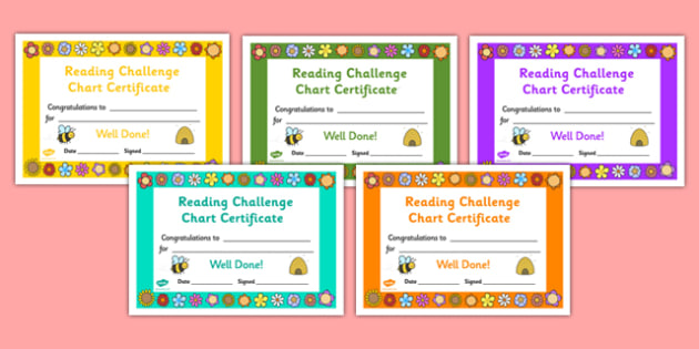 Reading Challenge Chart Certificates - reading challenge, chart, reading chart, challenges, challenge, certificates, award, reward, best, awarding, read, challenging, record