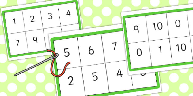 Number Bonds to 10 Matching Threading Cards - card, match, thread