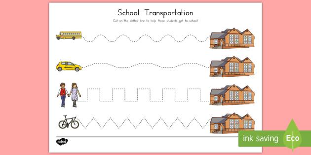 School Transportation Cutting Skills Activity Sheet, worksheet