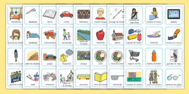 Routine Visual Timetable For Girls Spanish-Spanish