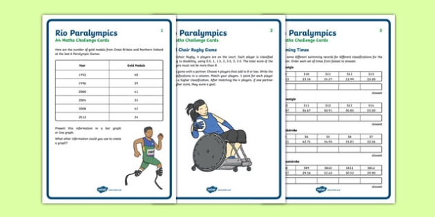 LKS2 Rio Paralympics Maths Challenge Cards