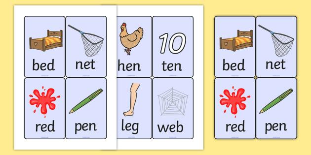 CVC Word Cards E - CVC, CVC words, visual aids, flash cards, E