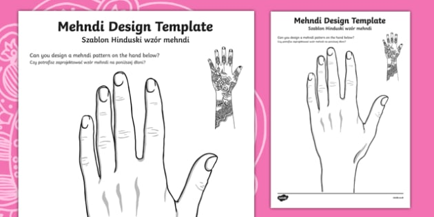 Mehndi Design Template English/Polish