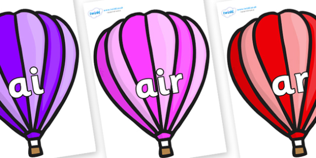 Phase 3 Phonemes on Hot Air Balloons (Stripes) - Phonemes, phoneme, Phase 3, Phase three, Foundation, Literacy, Letters and Sounds, DfES, display